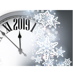 grey 2019 new year background with clock greeting vector image
