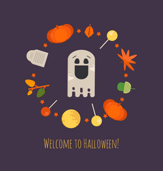 Halloween ghost concept poster vector