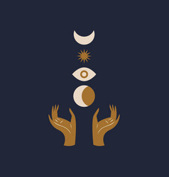hands holding moon and eye sacred geometry magic vector image
