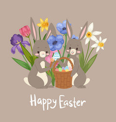 happy easter card with cute bunnies barabbit vector image