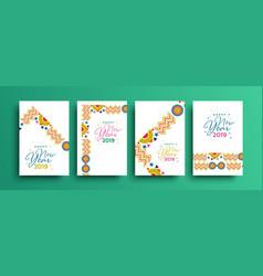 happy new year 2019 tribal boho greeting card set vector image