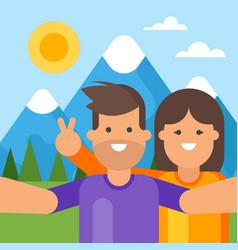 Happy tourist couple taking selfie vector