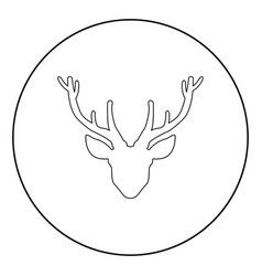 head deer icon black color in circle vector image