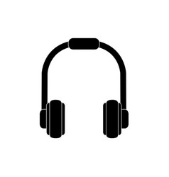 headphones device melody sound music silhouette vector image