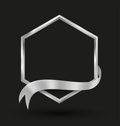 hexagon banner with silver ribbon vector image
