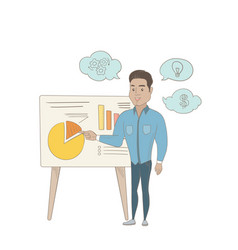 Hispanic businessman giving business presentation vector