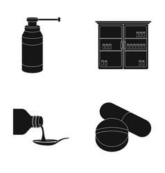 Inhaler medical cabinet tablets syrup in a vector