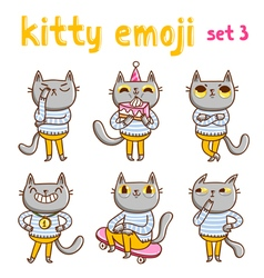 Kitty emoji set 3 vector