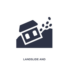 Landslide and house icon on white background vector