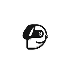Letter d dog logo icon symbol cute black white vector