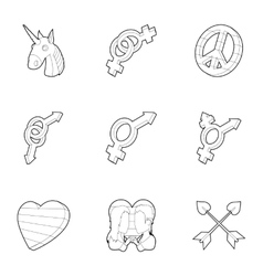 Lgbt community icons set outline style vector