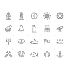 Line navy marine sailing and sea icons vector