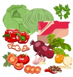 Meat and vegetables vector image