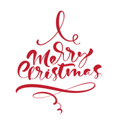merry christmas calligraphic handwritten vector image