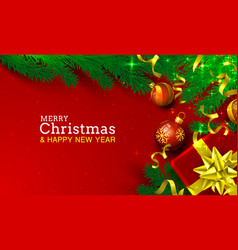 merry christmas happy new year tree with toys vector image