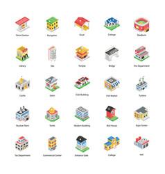 Modern buildings in isometric pack vector