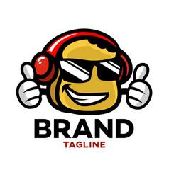 modern cartoon character toast in headphones logo vector image