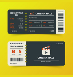Modern cinema movie tickets design vector