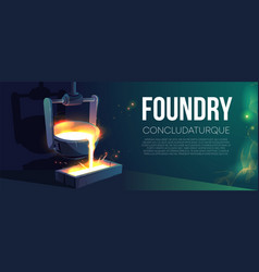 Modern foundry production realistic banner vector