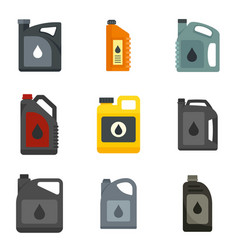 Motor oil icons set flat isolated vector