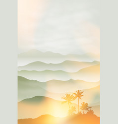 Mountains with palm tree in the fog summer vector