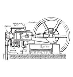 Oil engine vintage vector