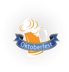 oktoberfest blue ribbon mug with beer image vector image