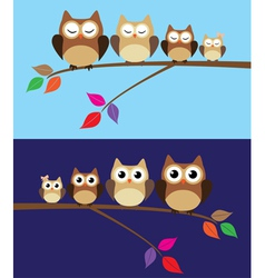owl family day night vector image