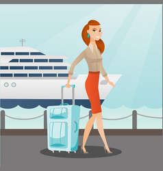 Passenger goes to the cruise liner with a suitcase vector