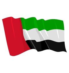political waving flag of united arab emirates vector image