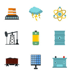 Power generation icon set flat style vector