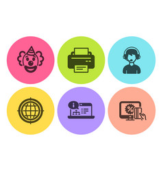 Printer online documentation and clown icons set vector