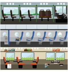 Public transport interior concept banners vector