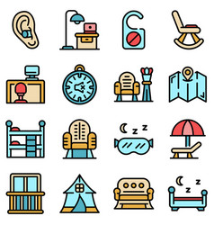 Quiet spaces icons set flat vector