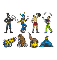 retro circus performance set color sketch vector image