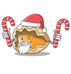 Santa with candy oyster mascot cartoon style vector