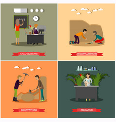Set archaeological excavations concept vector