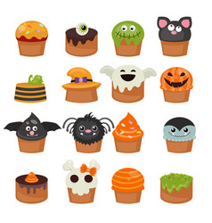 set of halloween cupcakes vector image