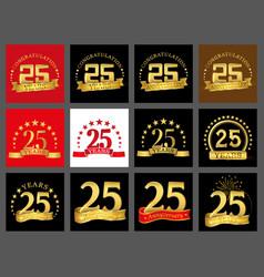 set of number twenty five year 25 year vector image