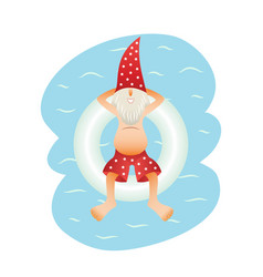 Smiling santa claus on beach vector