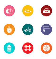 Sport foodstuff icons set flat style vector