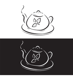 teapot with leaves symbol isolated on black and wh vector image vector image