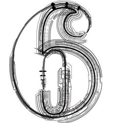 Technical typography number 6 vector