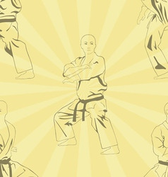 The image of five men who are engaged in karate vector image