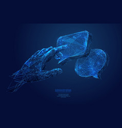 touch on dialogue low poly blue vector image