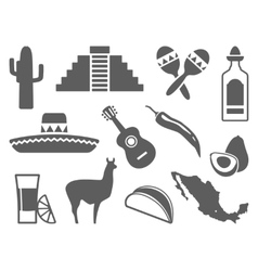 Traditional symbols of Mexico icons vector