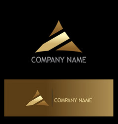 Triangle stripe gold logo vector