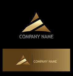 triangle stripe gold logo vector image