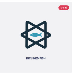 Two color inclined fish icon from religion-2 vector