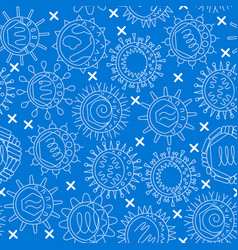 virus types seamless pattern in thin line style vector image